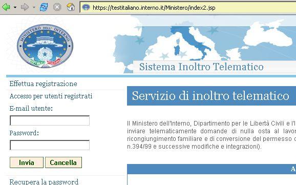 Richiesta di partecipazione al test di italiano paesi for Questura di ferrara ritiro permesso di soggiorno